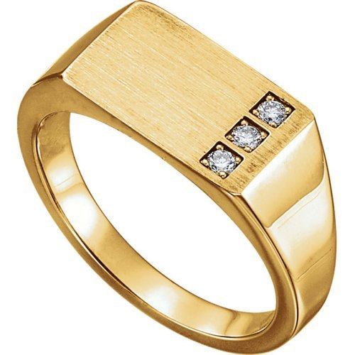 Men's Diamond 3-Stone Past, Present, Future Signet Ring, 14k Yellow Gold (.10 Ctw, G-H Color I1 Clarity) Size 12.5