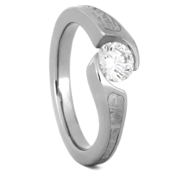 Diamond, Gibeon Meteorite 7mm Comfort-Fit Titanium Bypass Engagement Ring (.47 Ct, Color G, Clarity SI1)