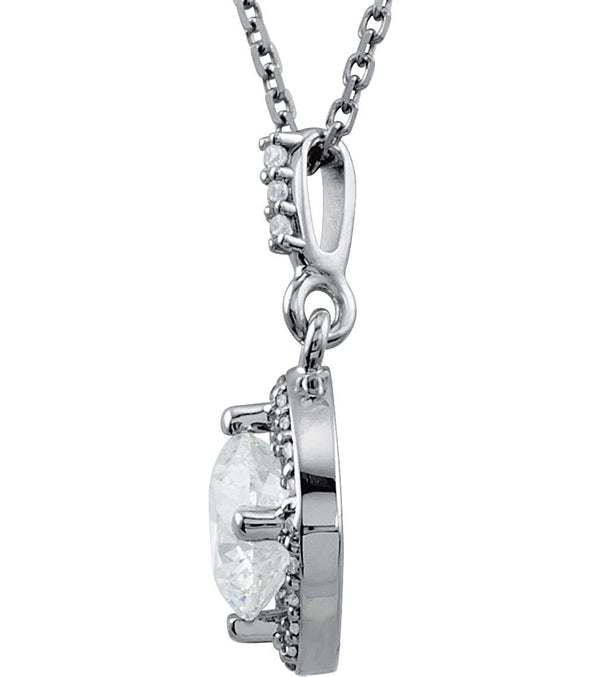 "Diamond Halo Pendant Necklace, Rhodium Plate 14k White Gold, 18"" (11/6 Cttw)"