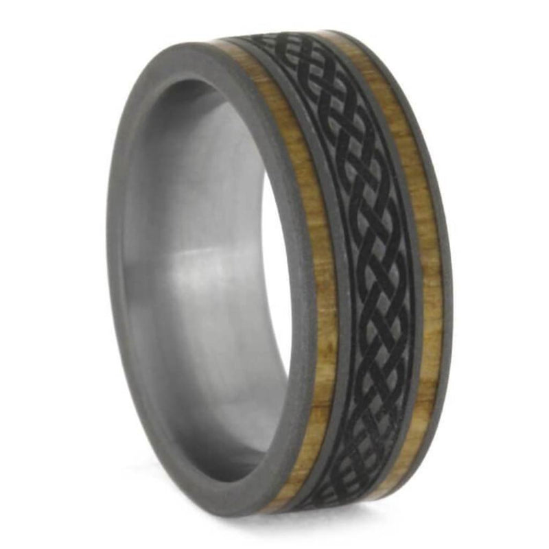 Oak and Olive Wood, Celtic Knot Engraving Comfort-Fit Sandblasted Titanium Couples Wedding Band Set