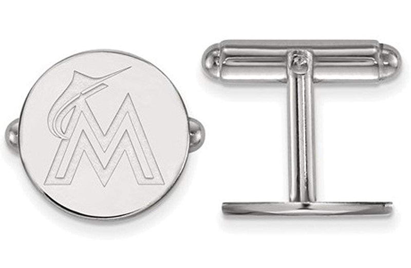 Rhodium plating Rhodium-Plated Sterling Silver MLB Miami Marlins Round Cuff Links,15MM