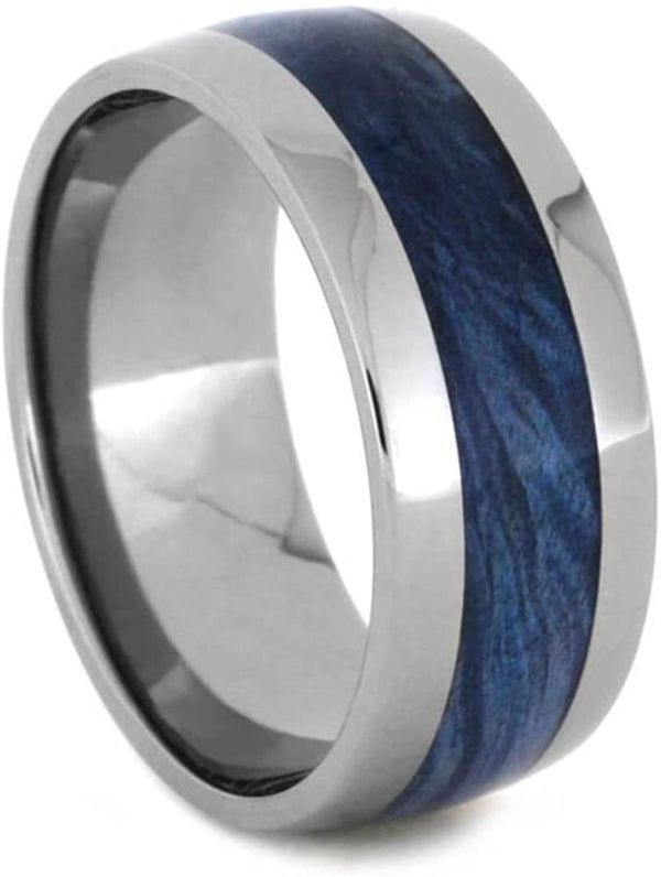 Blue Box Elder Burl Wood 10mm Titanium Comfort-Fit Wedding Band, Size 9