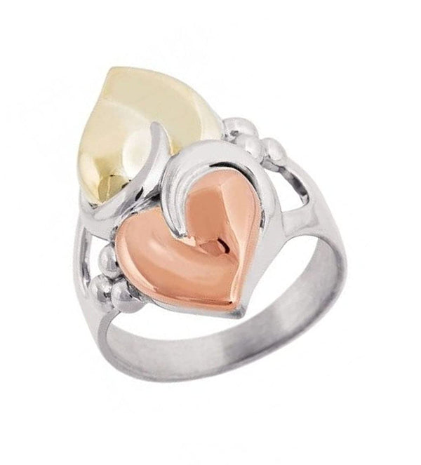 "3D Sculpted Hearts Ring, Rhodium Plated Sterling Silver, 10k Green and Rose Gold, 18"" to 22"""