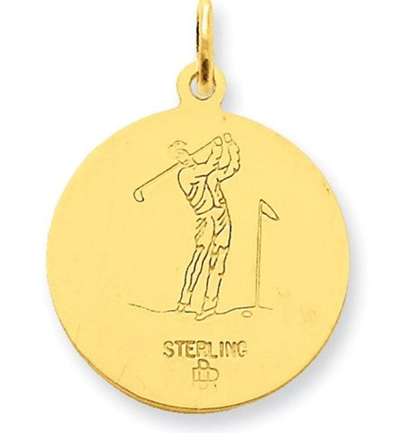 24k Gold-Plated Sterling Silver St. Christopher Golf Medal