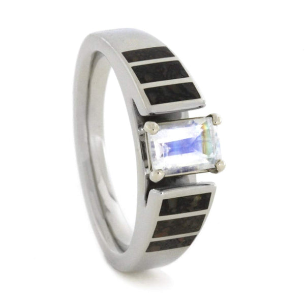 Rainbow Moonstone Cathedral 14k White Gold, Dinosaur Bone 5mm Comfort-Fit Band
