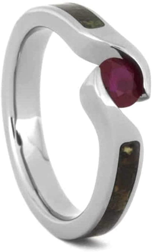 Ruby, Dinosaur Bone 3.5mm Comfort-Fit Titanium Bypass Engagement Ring, Size 4.75