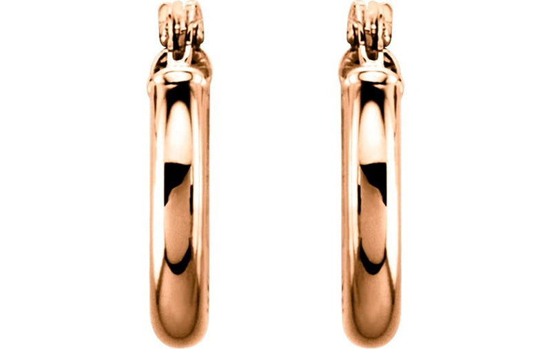 Tube Hoop Earrings, 14k Rose Gold (15mm)