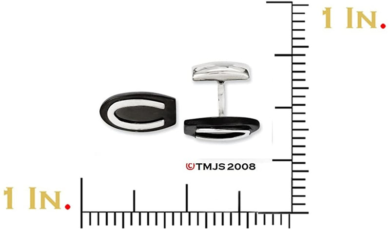 Stainless Steel, Black IP Oval Cuff Links, 23X12MM