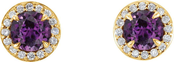 Chatham Created Alexandrite and Diamond Halo-Style Earrings, 14k Yellow Gold (4.5 MM) (.16 Ctw, G-H Color, I1 Clarity)