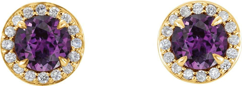 Chatham Created Alexandrite and Diamond Halo-Style Earrings, 14k Yellow Gold (5 MM) (.16 Ctw, G-H Color, I1 Clarity)