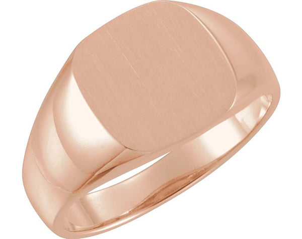 Men's Open Back Brushed Signet Semi-Polished 18k Rose Gold Ring (12mm) Size 10