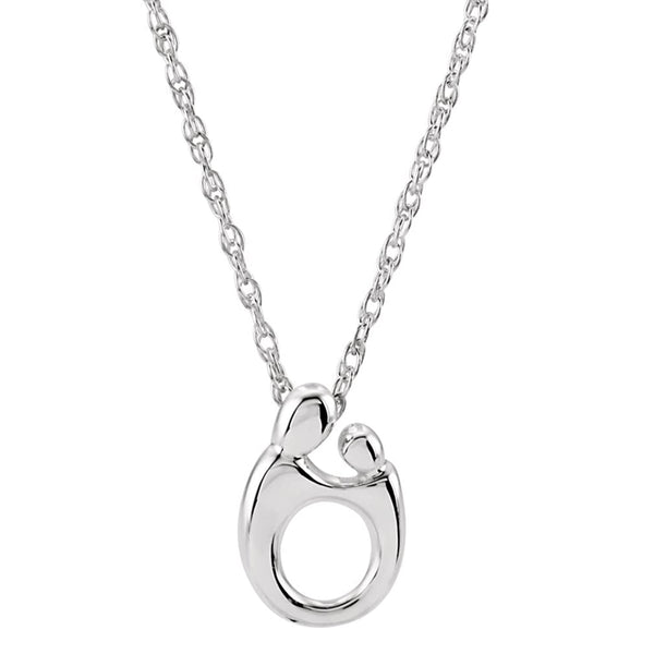 Mother and Child Rhodium Plated Sterling Silver Necklace, 20""