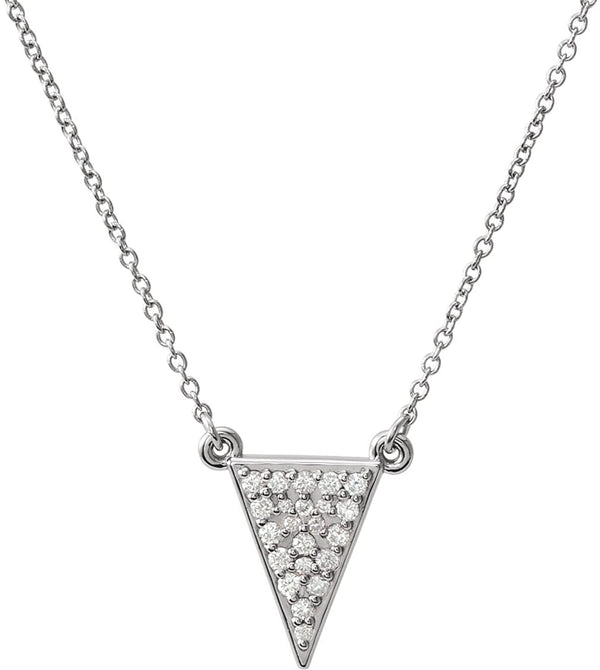 "Platinum Diamond Triangle Necklace, 16.5"" (.2 Ctw, GH Color, SI2-SI3 Clarity)"