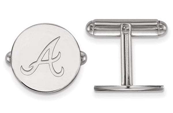 Rhodium-Plated Sterling Silver MLB Atlanta Braves Round Cuff Links,15MM