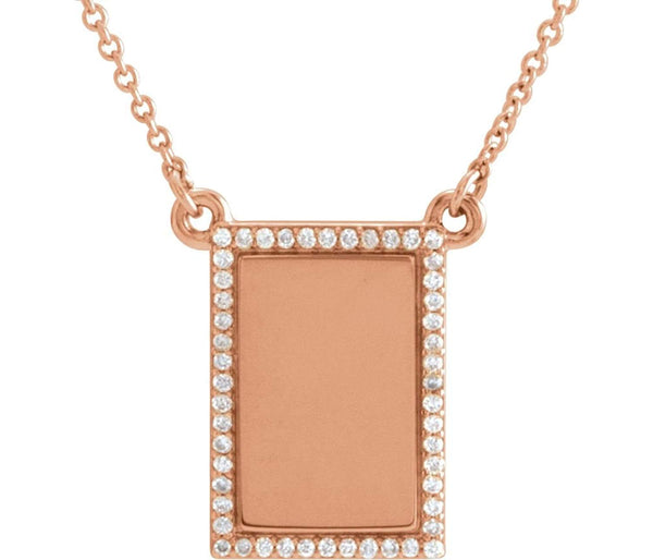 "Diamond Bar Engravable Necklace, 14k Rose Gold, 18"" ( 0.125 Ctw, G-H Color, I1 Clarity)"