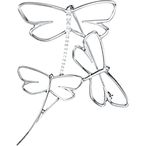 Diamond Dragonfly Brooch, 14k White Gold, 1/5 Cttw.