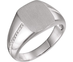 Men's Signet Rope Trim Design Ring, Rhodium-Plated 14k White Gold