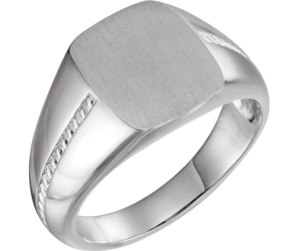 Men's Signet Rope Trim Design Ring, Rhodium-Plated 14k White Gold Size 9.25