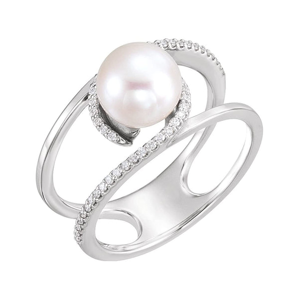 White Freshwater Cultured Pearl, Diamond Negative Space Ring, Rhodium-Plated 14k White Gold (7.5-8.00)(.125Ctw, Color G-H, Clarity I1) Size 7