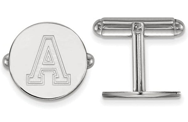 Rhodium-Plated Sterling Silver, U.S. Military Academy Round Cuff Links, 15MM