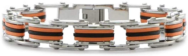 Men's Stainless Steel 9mm Black and Orange Polyurethane Link Bracelet, 8.75 Inches