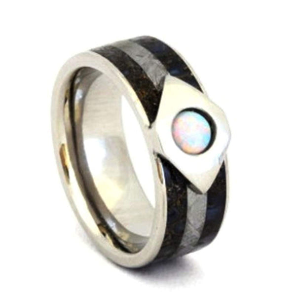 White Opal, Dinosaur Bone, Gibeon Meteorite 7mm Comfort Fit Titanium Wedding Band