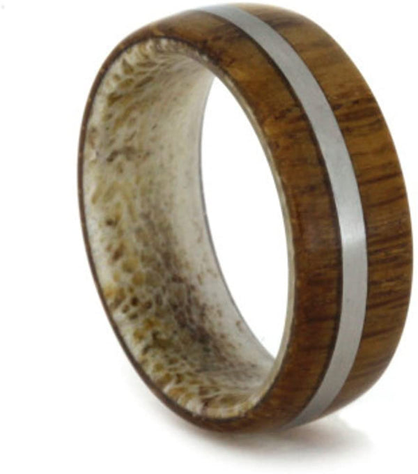 Lyptus Wood, Matte Titanium 6.5mm Comfort-Fit Deer Antler Band, Size 12.5
