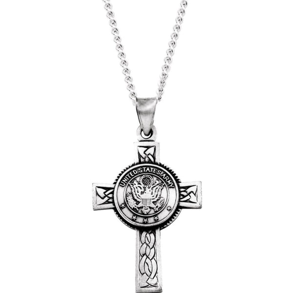 The Men's Jewelry Store U.S. Army Halo Cross Sterling Silver Pendant Necklace, 24""