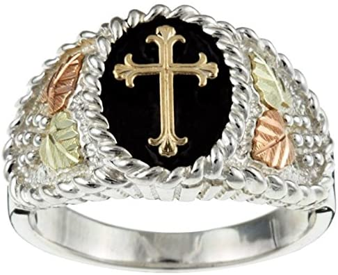 Men's Cross Ring, Sterling Silver, 10k Yellow Gold, 12k Green and Rose Gold Black Hills Gold Motif, Size 8.75