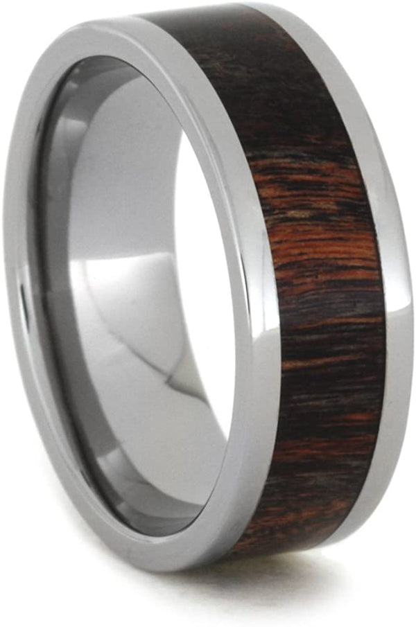 Red and Black Poplar Wood 8mm Comfort-Fit Titanium Wedding Band, Size 4.25