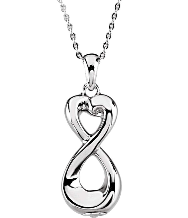 Sterling Silver Infinite Love Ash Holder Pendant Urn Cremation Memorial Necklace, 18""