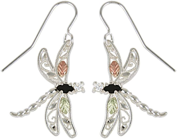 Onyx Dragonfly Earrings, Sterling Silver, 12k Green and Rose Gold Black Hills Gold Motif