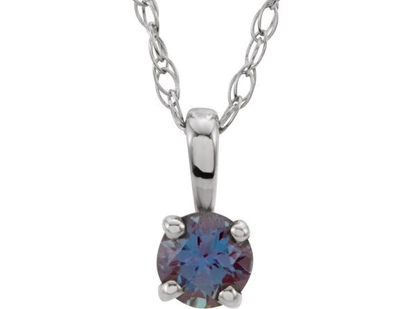 Children's Chatham Created Alexandrite 'June' Birthstone 14k White Gold Pendant Necklace, 14""