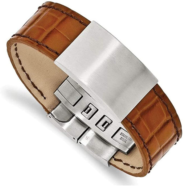Men's Textured Light Brown Leather Satin-Brushed Stainless Steel ID Bracelet, 8 Inches