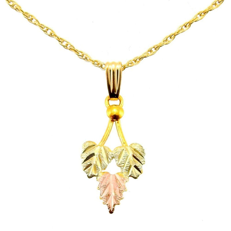 Petite Leaf Pendant Necklace, 10k Yellow Gold, 12k Green and Rose Gold Black Hills Gold Motif, 18""