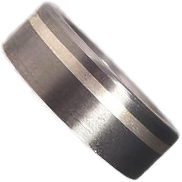 Brushed Satin Titanium, Inlaid Sterling Silver 7mm Comfort-Fit Ring, Size 14.25