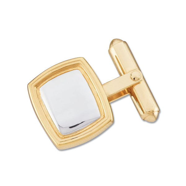 14k Yellow and White Gold Rectangle Cuff Link, Semi-Polished (Single Cuff Link) 14x16MM