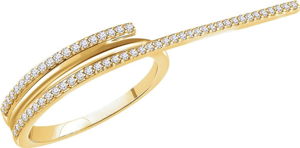 Diamond Two-Finger Ring, 14k Yellow Gold, Size 7 (0.25 Ctw, H+ Color, I1 Clarity)