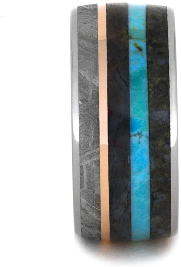 Turquoise, Dinosaur Bone, Meteorite, Petrified Wood, 14k Rose Gold, Black and White Mokume Gane 10mm Comfort-Fit Titanium Band, Size 13
