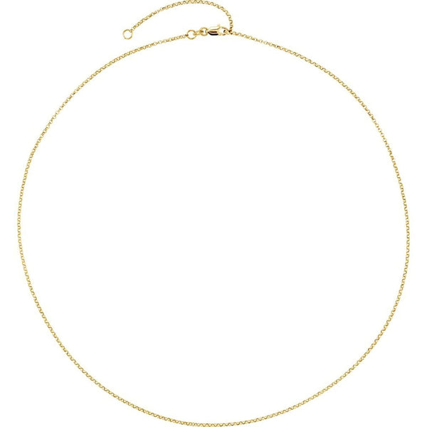 Adjustable Rolo Chain 1.5mm 18k Yellow Gold Plated Sterling Silver, 18-20''