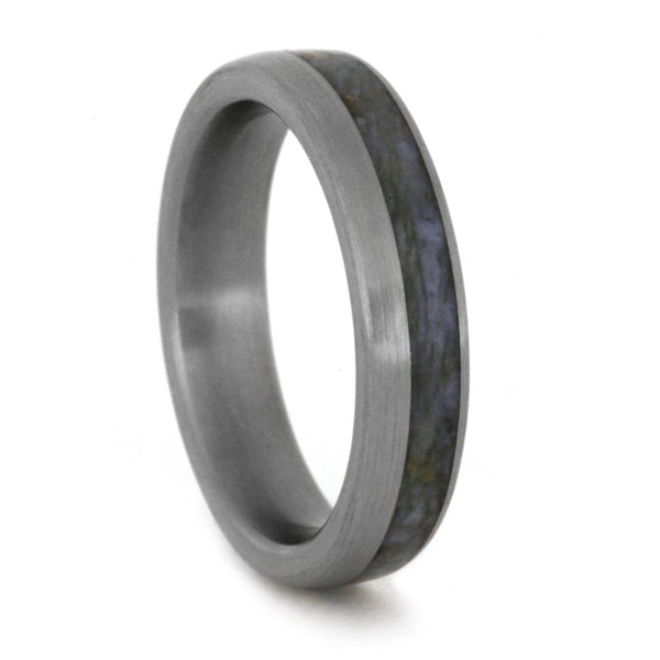 Slim Profile Dinosaur Bone 4mm Comfort-Fit Brushed Titanium Wedding Band