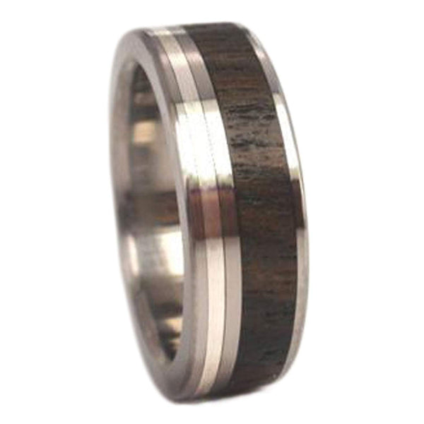 Ziricote Wood, Inlaid Sterling Silver 7mm Comfort-Fit Titanium Ring, Size 11.25