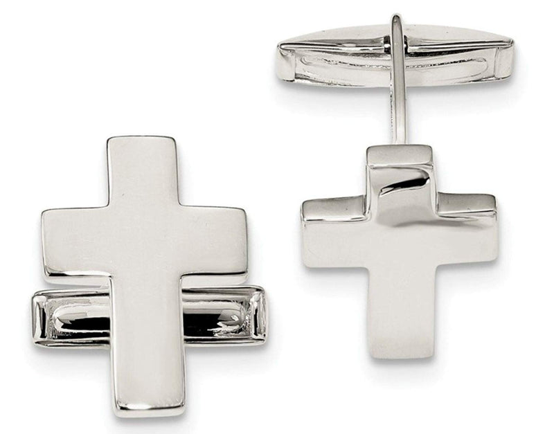 Sterling Silver Cross Cuff Links, 24.3X18.5MM