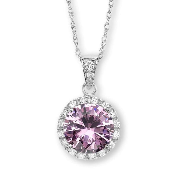 Pink CZ Halo Pendant Rhodium Plated Sterling Silver Necklace, 18""