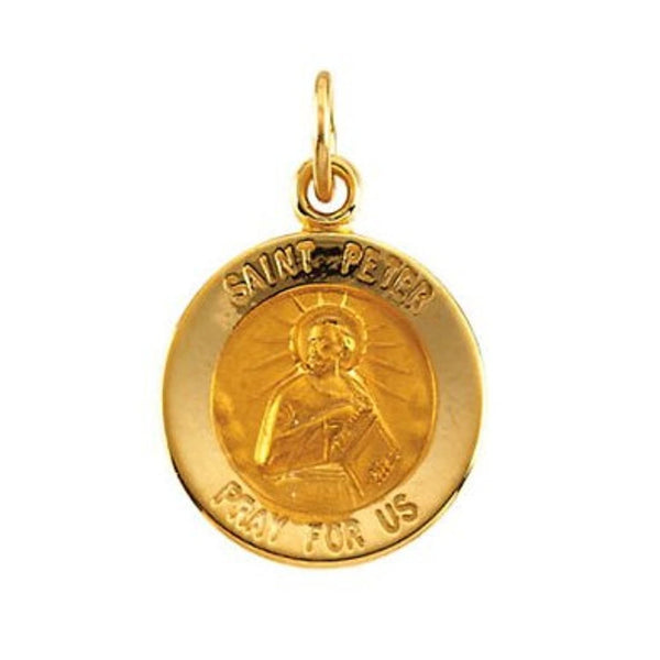 14k Yellow Gold Round St. Peter Medal (15MM)