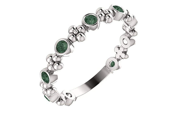 Chatham Created Alexandrite Beaded Ring, Rhodium-Plated Sterling Silver