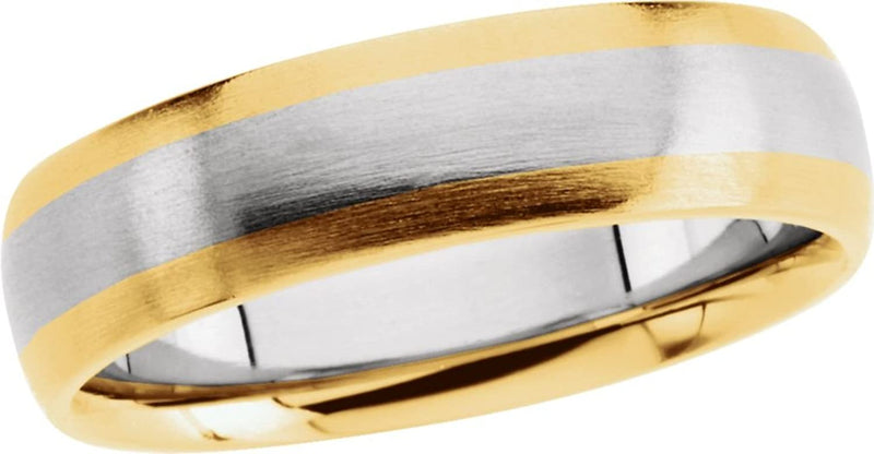 14k Yellow and White Gold Brushed-Satin 6mm Comfort-Fit Two-Tone Band