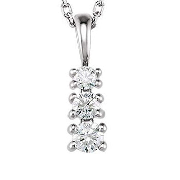 "3-Stone Diamond Rhodium Plated 14k White Gold Pendant Necklace, 18""(1/6 Ctw, GH, I1)"