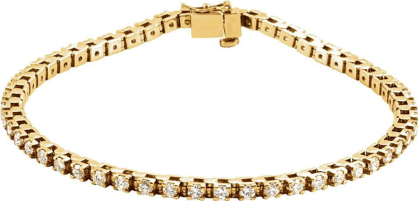 "49-Stone Diamond Tennis 14k Yellow Gold, 7.25"" (3.37 Cttw, GH Color , I1 Clarity )"