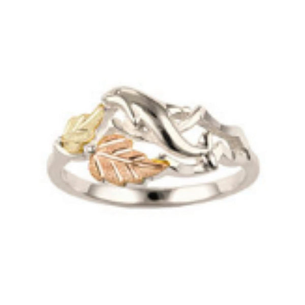 Slim-Profile Graduated Leaf Ring, Sterling Silver, 12k Green and Rose Gold Black Hills Gold Motif